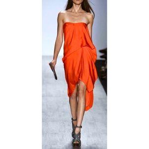 BCBG MAXAZRIA Strapless Runway Draped Dress